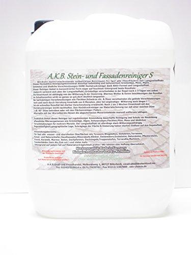 A.K.B. Stein- und Fassadenreiniger S Vollkonzentrat, 3655,(10 Liter + 2x1L A.K.B.200 + 1 Ausgiesser), Flechtenentferner, grünbelagentferner, moosentferner,Baua N-72850 und N-69211