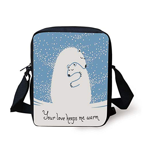 Animal Decor,Mother Polar Bear Hugging Her Baby in The Snow North Winter Love Keeps Warm Artful Theme,Blue White Print Kids Crossbody Messenger Bag Purse