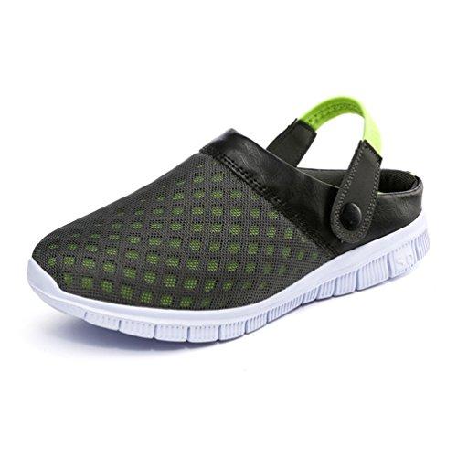YOUJIA Unisex Atmungsaktiv Leicht Mesh Pantoffeln Clogs Sommer Garten Strand Schuhe Sandalen #1 Grau Grün