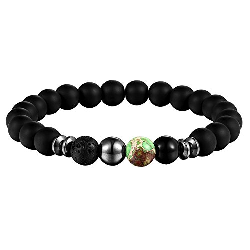 Lion & Son Perlen Armband - Damen Edelstein Kettchen Bracelet Herren Obsidian Fashion Onyx Vintage...
