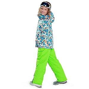 YFCH Mädchen Jungen Skianzug Skijacke Skihose Regenlatzhose Kinder Verdickung Lang Jacket Wintermantel Mantel