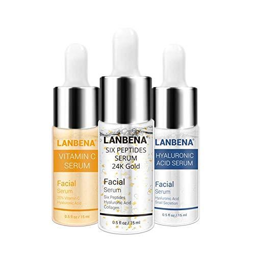 Gesichts Serum,Hyaluronsäure Serum+Vitamin C Serum+sechs Peptide Serum 24K Gold Anti Aging Feuchtigkeitsspendende Whitening Entfernen...