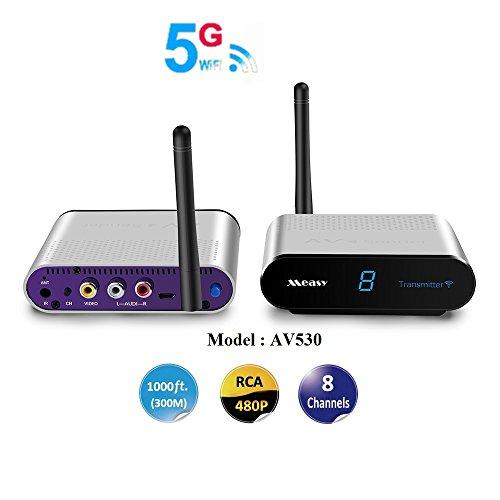 MEASY 5.8GHz drahtlose AV Sender Transmitter Empfänger 200M mit IR Extender für die Kontrolle der DVD / Set-Top Box aus einem anderen Zimmer, um Digital / Satelliten TV