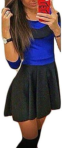 Fly Year-uk Women's Autumn Scoop Neck Colorblock Swing Casual Mini Dress XXS Blue