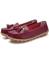 Mujer Zapatos Planos Cuero Soft Único Ligero Slip-On Mocasines Bajo El Talón Puntera Redonda