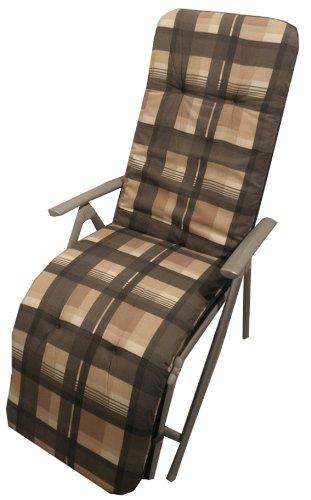 Beo Gartenstuhlauflage Sitzkissen Polster Stuhlkissen für Relaxstuhl mit braun grau kariert