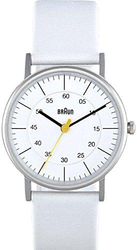 Braun BN0011WHWHL - Reloj analógico de mujer de cuarzo con correa de piel blanca