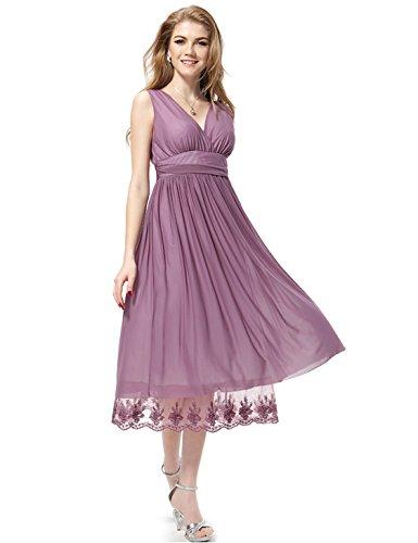 Ever Pretty Robe de cocktail au genou de style Empire et en double V-col 0279B Violet