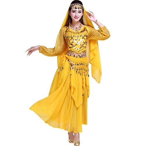 TianBin Professionelle Tänzerin Chiffon Bauchtanz Kostüm Langarm Oberteil Lang Maxirock für Damen (Gelb#4, One Size)