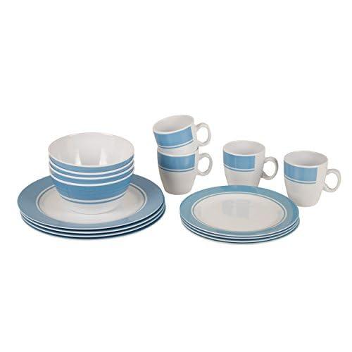 41d49uQz0LL. SS500  - Bo-Camp - Tableware set - 100% Melamine - 16 pieces - White/Blue