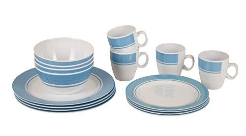 Bo-Camp - Vaisselle - 100% Melamine - 16 pcs - Blanc/Bleu