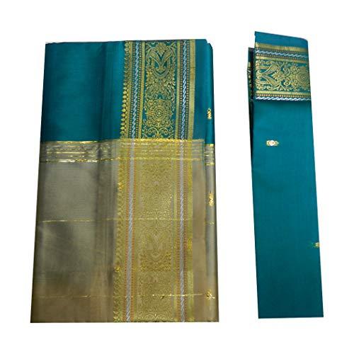 (indischerbasar.de Brokat Sari beige petrolgrün Goldbrokat Indien Tracht Bindi Ohrhänger Wickelkleid Polyester)