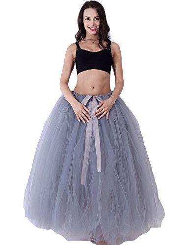 FOLOBE Frauen handgemachtes geschwollenes Tutu Tulle Rock 100CM / 39.4in (Geschwollene Kleider Grau Prom)