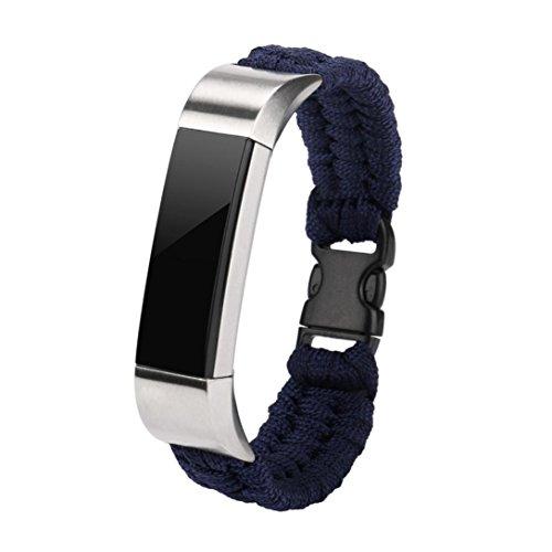 Für Fitbit Alta HR/Fitbit Alta geflochten Ersatz-Riemen, Y56NEU Nylon Seil Survival Armband Armbanduhr Band für Fitbit Alta/Fitbit Alta HR, blau