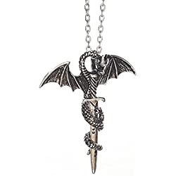 Dragón Espada Colgante con Collar | inspirado en Game of Thrones | Espada de oro o plata | by Serebra Jewelry (Espada de plata)