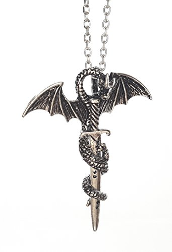 Serebra Jewelry Drachen Schwert Anhänger mit Halskette   Gold oder Silber Schwert   Dragon Mittelalter Ritter GOT (Silber Schwert)