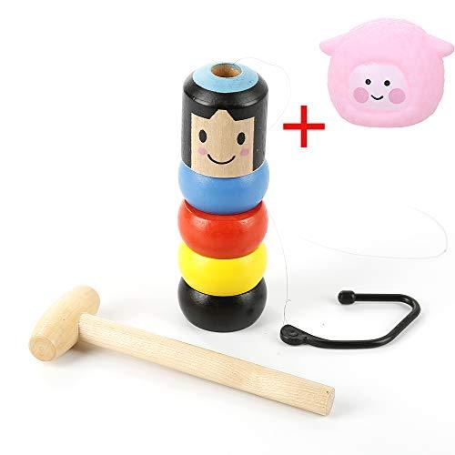 TDORA 1 Set Unsterbliches unzerbrechliches Holzmännchen Magisches Spielzeug, hartnäckige Holzmännchen Zaubertricks Requisiten Halloween Weihnachten Spielzeug Geschenk für Kinder und Erwachsene