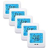 Froadp 5 Stück/Set Raumthermostat Digital Thermostat Programmierung Raumthermostat Heizungs Raum Temperatur Regler mit LCD TouchScreen Blau Für Wade Fußbodenheizung Die Heizung Wand Elektrische Usw (5 Stück / Set)