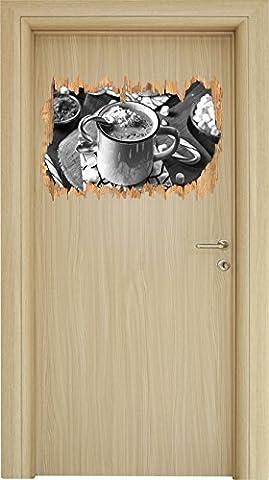 heisse Schokolade mit Zuckerstange Kunst B&W Holzdurchbruch im 3D-Look , Wand- oder Türaufkleber Format: 62x42cm, Wandsticker, Wandtattoo, Wanddekoration