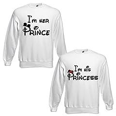 Idea Regalo - Coppia di Felpe Uomo Donna Idea Regalo Fidanzati I'm Her Prince I'm His Princess BIANCHE Uomo S Donna M Girocollo