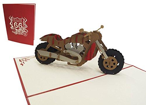POP UP 3D Karte Geburtstagskarte grußkarten Gutschein Fahrzeug Motorrad, rot (Große Karte 15 x 20 cm), N160
