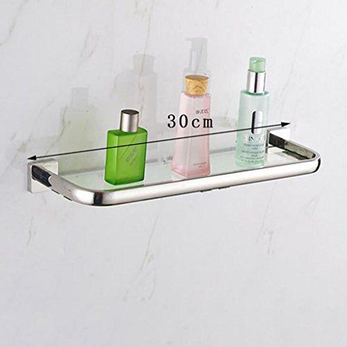 Badezimmer-Glas-Zahnstange, 304 Edelstahl-Regale, einschichtige Badezimmer-Glas-Regale Badablage (Größe : 30cm)