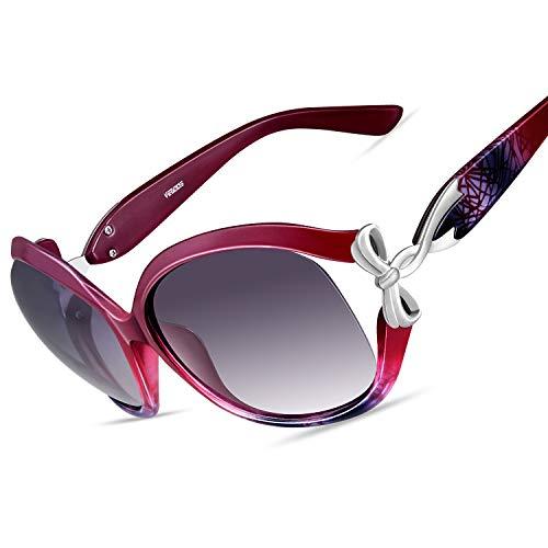 Vegoos occhiali da sole da donna scatola grande moda occhiali polarizzati protezione uv400 (rosso)