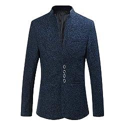 Zhiyuanan Herren Große Größe Casual Blazer Jacken Stehkragen Einreiher Slim Fit Suit Weich Elegant Business Männer Sakko Mantel Marine 6XL
