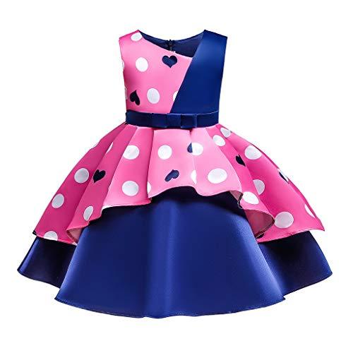 Livoral Baby Born zubehor Blumenbaby-Prinzessin Bridesmaid Pageant Gown Birthday Party Wedding Dress(Rosa,120)