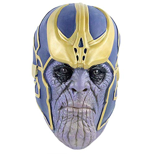 QWEASZER Thanos Masken, Marvel Avengers 3: Infinity War Masken, Cosplay Party Maske Latex Helm Superheld Für Halloween Hood Hero Horror Männer Erwachsene,Thanos-0cm~63cm