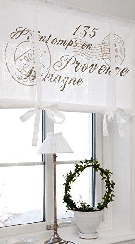 Scheibengardine Raff Gardine Raffrollo Vorhang 'Bretagne' 160 x 100 cm (BxH) weiß mit Stempel...