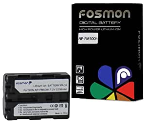 Fosmon NP-FM500H High Capacity (2200 mAh) 7.2V Replacement Li-ion Battery Pack for Sony Alpha DSLR A57, A58, A65, A65V, A77, A77V, A99, A100, A200, A300, A350, A450, A500, A550, A560, A580, A700, A850, A900, CLM-V55 Cameras - Fosmon Retail Packaging