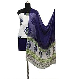 Gleamberry Womens Multicolour (White & Blue) block Print Cotton Dress Material Set