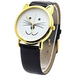 SODIAL(R)Barba de gato de las mujeres Reloj de pulsera brazalete de cuero sintetico£¨Negro con cascara de Oro£©
