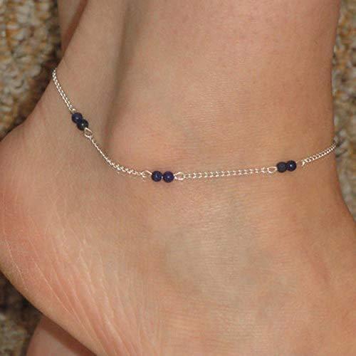 NMoqL Einfacher Schmuck Alle handgefertigten Perlen Perlen Kinderstrandkette Lila Perlen Silber Lila Womens Heels