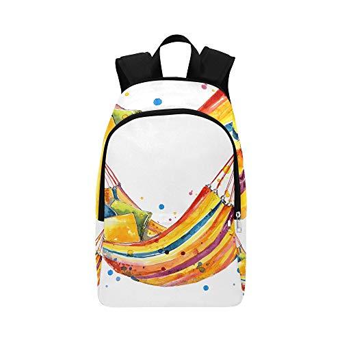 Weiße Hängematte über dem Strand lässig Daypack Reisetasche College School Rucksack für Männer und Frauen