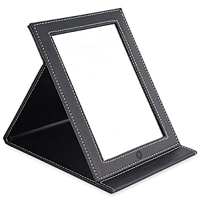 amoore Travel Mirror Vanity Mirror Folding Tabletop Makeup Mirror Cosmetic Mirror with PU Leather Cushioned Cover produced by amoore - quick delivery from UK.