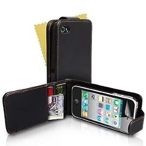 Schwarz Leder Flip Schutzhülle Für Apple iPhone 4 / 4S Mit Displayschutz