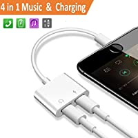 Adapter&Splitter für iPhone 7/7Plus iPhone 8/8Plus iPhone X/10. 2 in 1 Lighting auf Dual Lighting Ports Audio-Adapter, Kopfhörer Aux Audio&Charge Adapter, Anschluss Lighting Kabel und Kopfhörer&Splitter. Anschlüsse für iPhone 7/7Plus Zubehör. Kompatibel iOS 10.3&iOS11