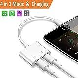 2 in 1 Lightning Adapter für iPhone 8/8 Plus/7/7Plus .Kopfhörer Aux Audio & Charge Adapter, Anschluss Lightning Kabel und Kopfhörer-Splitter. Anschlüsse für iPhone 8/7 Zubehör. Kompatibel iOS 10.3 & iOS11