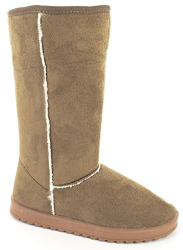womens-ladies-girls-comfy-flat-fur-faux-snugg-pull-on-winter-warm-long-boots-sz