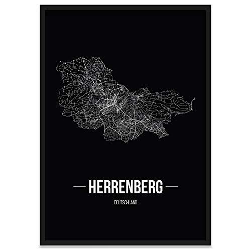 JUNIWORDS Stadtposter, Herrenberg, Wähle eine Größe, 40 x 60 cm, Poster mit Rahmen, Schrift B, Schwarz