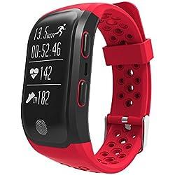 Reloj de pulsera inteligente Upxiang S980 rastreador de fitness, función GPS, monitor de frecuencia cardíaca, resistente al agua, podómetro, monitor de sueño, conexión Bluetooth 4.0, para caminar, correr, ciclismo, natación, llamadas, mensajes, compatible con iOS8+ y Android 4.3+ como el iPhone 7 7 Plus 6 y Samsung S8, 0.07 pounds, color Red