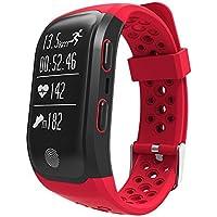 S908GPS deportes al aire libre pulsera Monitor de frecuencia cardíaca inteligente Pulsera fitness Tracker, rojo