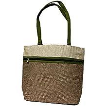 Women's Rich Trendy Jute Handbag Elegant Design Dual Pocket - Attractive Shining Light Brown