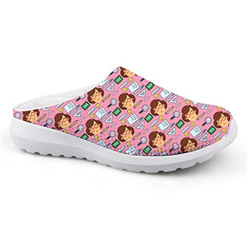 KISS&LOVE Sandal Woman Shoes Rubber Comfortable Water Shoes Fashion Brand 3D Teacher Pattern Slip-on Casual Ladies Beach Shoes CC4419CA 36 -