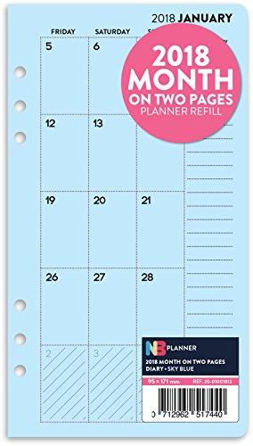 2018-mois-sur-deux-pages-planner-recharge-insert-english-filofax-personal-compatible-bleu-ciel