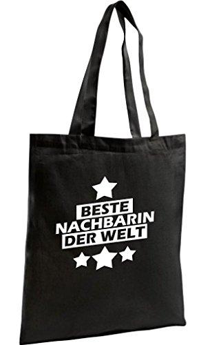 Shirtstown Shopping Bag Organic Zen, Shopper beste Nachbarin der Welt, schwarz