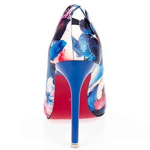 Oasap Women's Pointed Toe Floral Stiletto Slip on Pumps blue