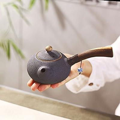 Saibang chinois traditionnel complète faite à la main en céramique RU Théière, Porcelaine Kungfu Thé Pot de fleurs avec long manche en bois-180ml/170,1gram